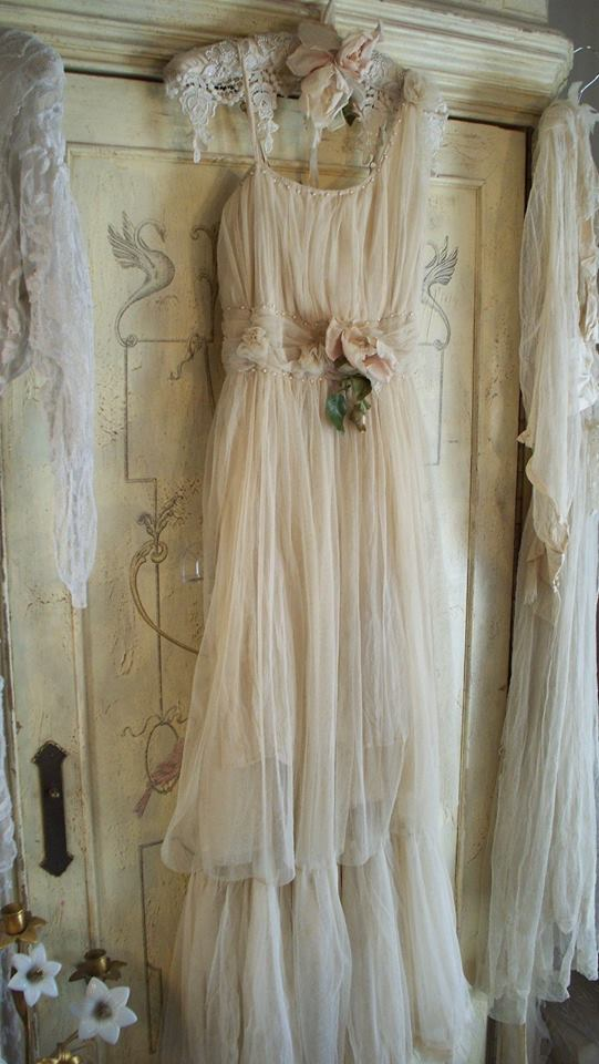 Edwardian Titanic Era Couture Latte Tulle Dress & Tulle Skirt by Jeanne d'Arc Living