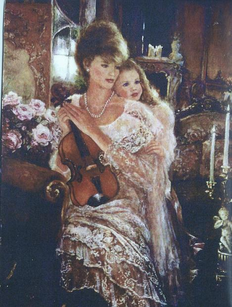 Oil Painted Portraiture by Corinne Layton, Couple or Parent with Child
