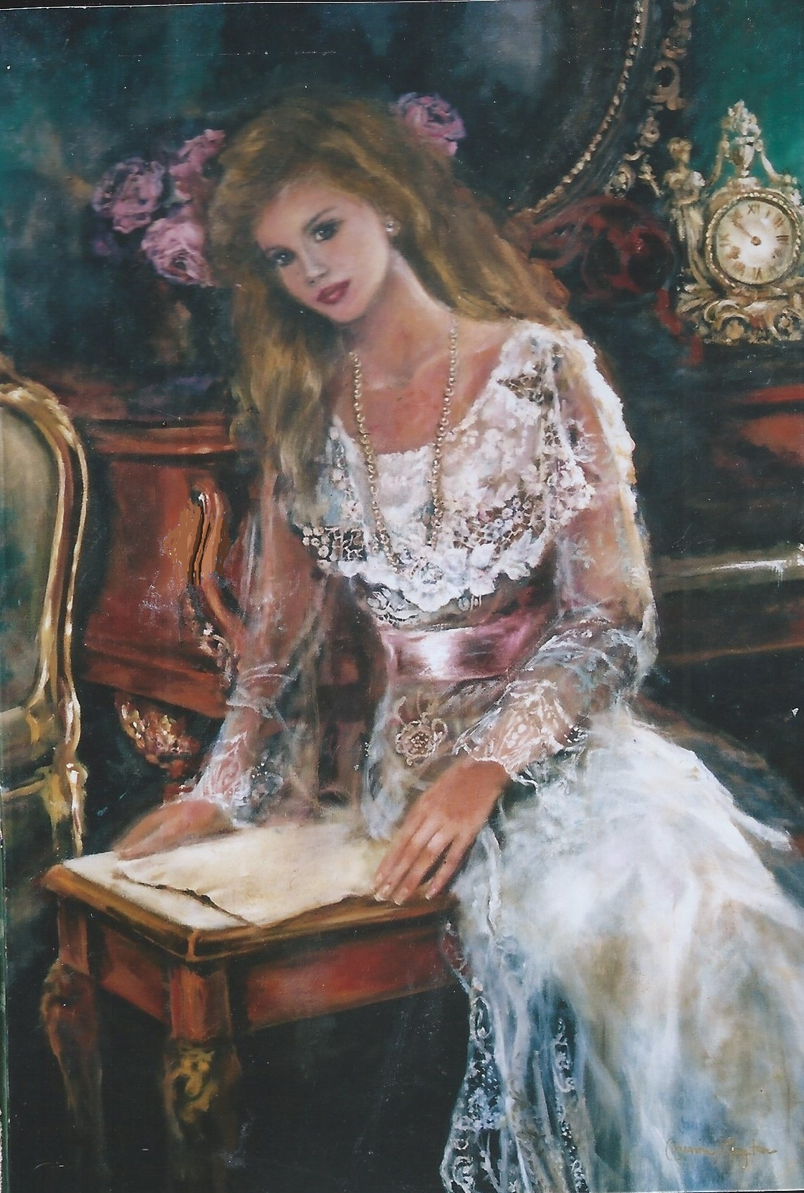 One Adult Oil Painted Portrait 24x36 Romantic Theme