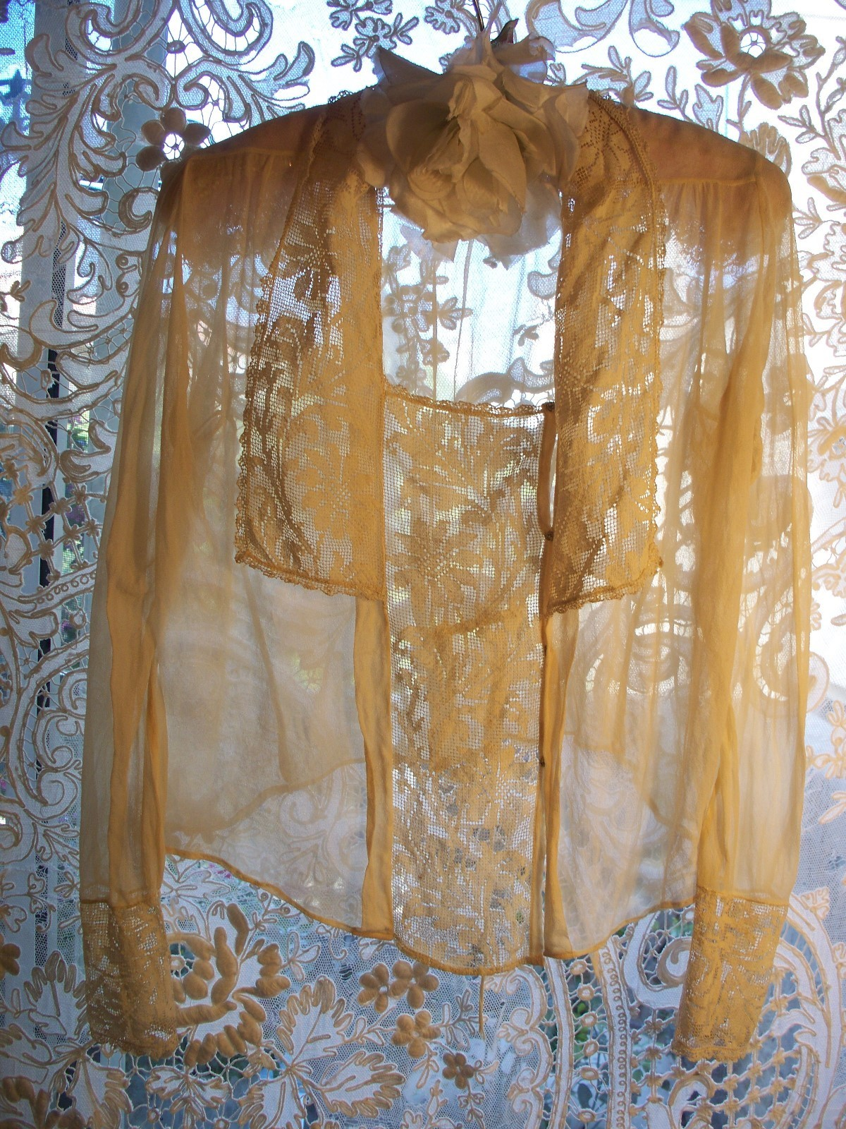 Vintage Ethereal Ecru Crepe with Lace Blouse, circa 1930's