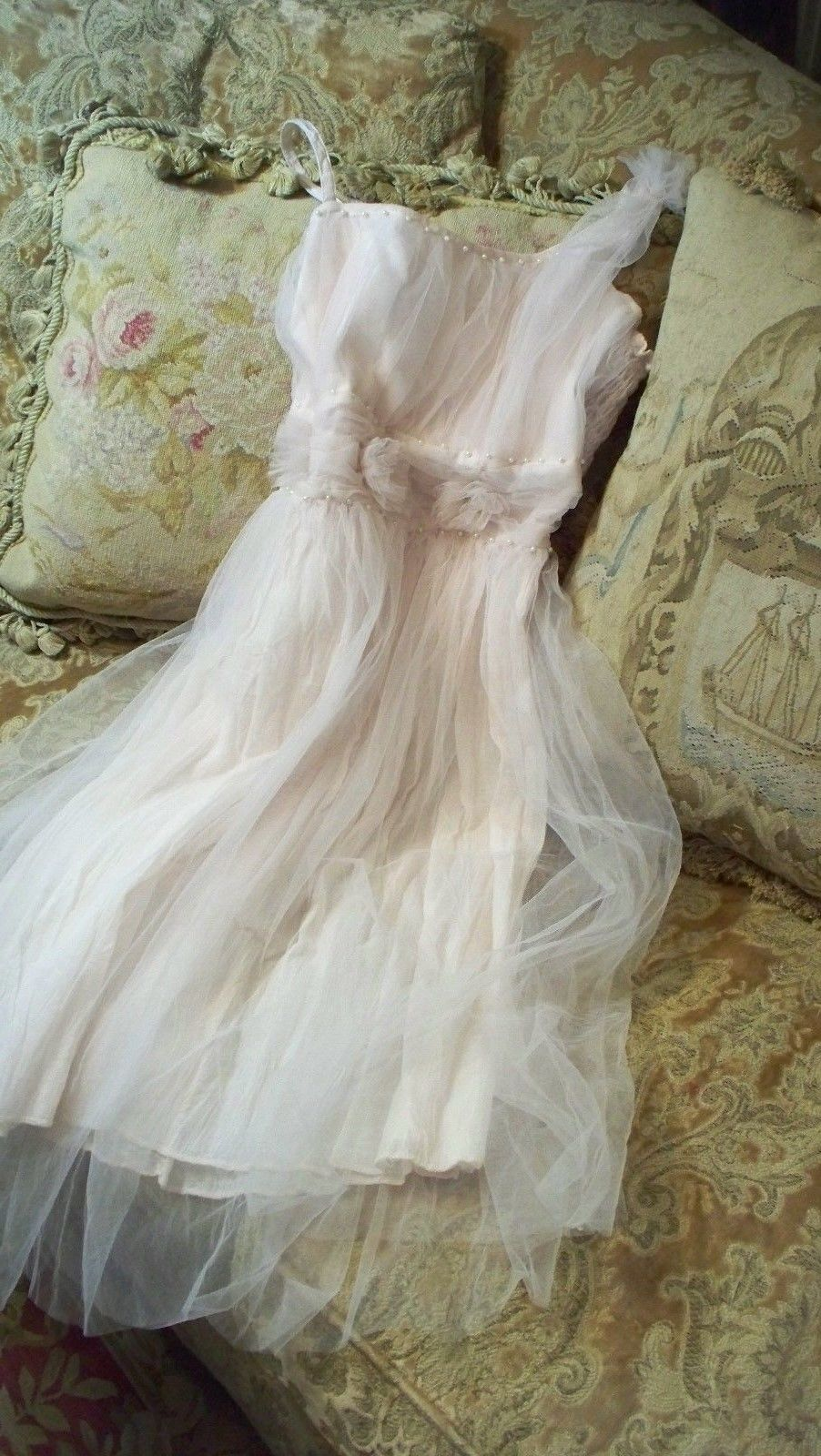Jeanne d'Arc Living Vintage Tulle Dress Pale Rose or Beige