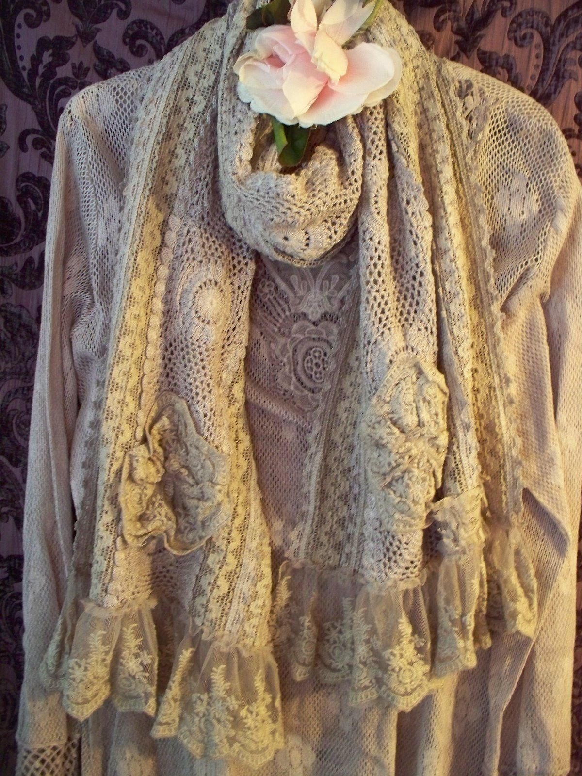 Jeanne d'Arc Living Crocheted Scarf/Shawl Light Plum