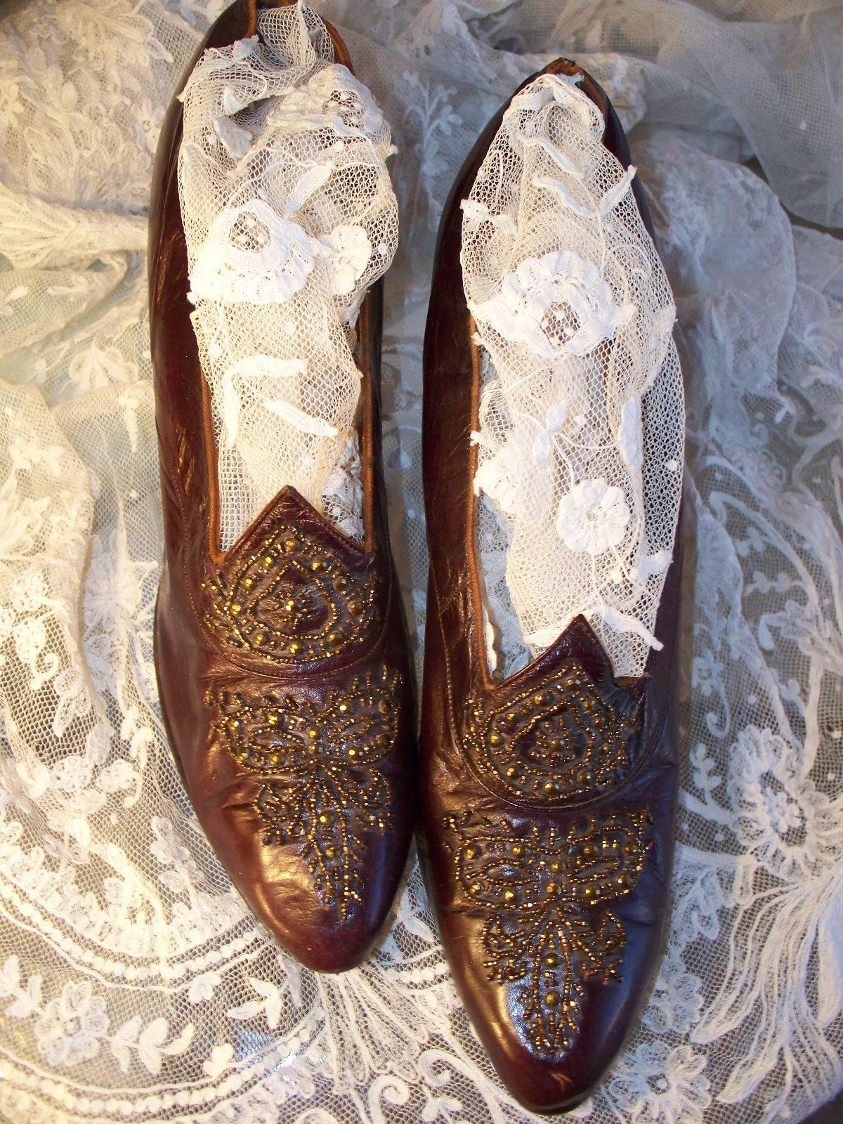 Burgundy Leather Bronze Steel Cut Bead Design Shoes Circa1910 (SOLD)