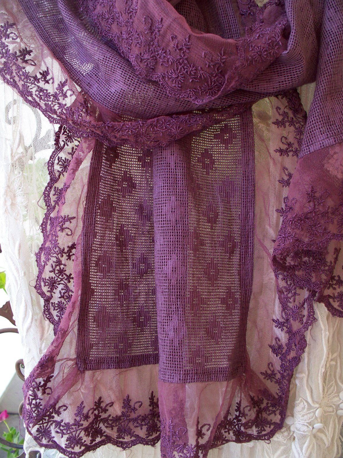 Jeanne d'Arc Living  Lace Scarf Aubergine color SALE 28.95