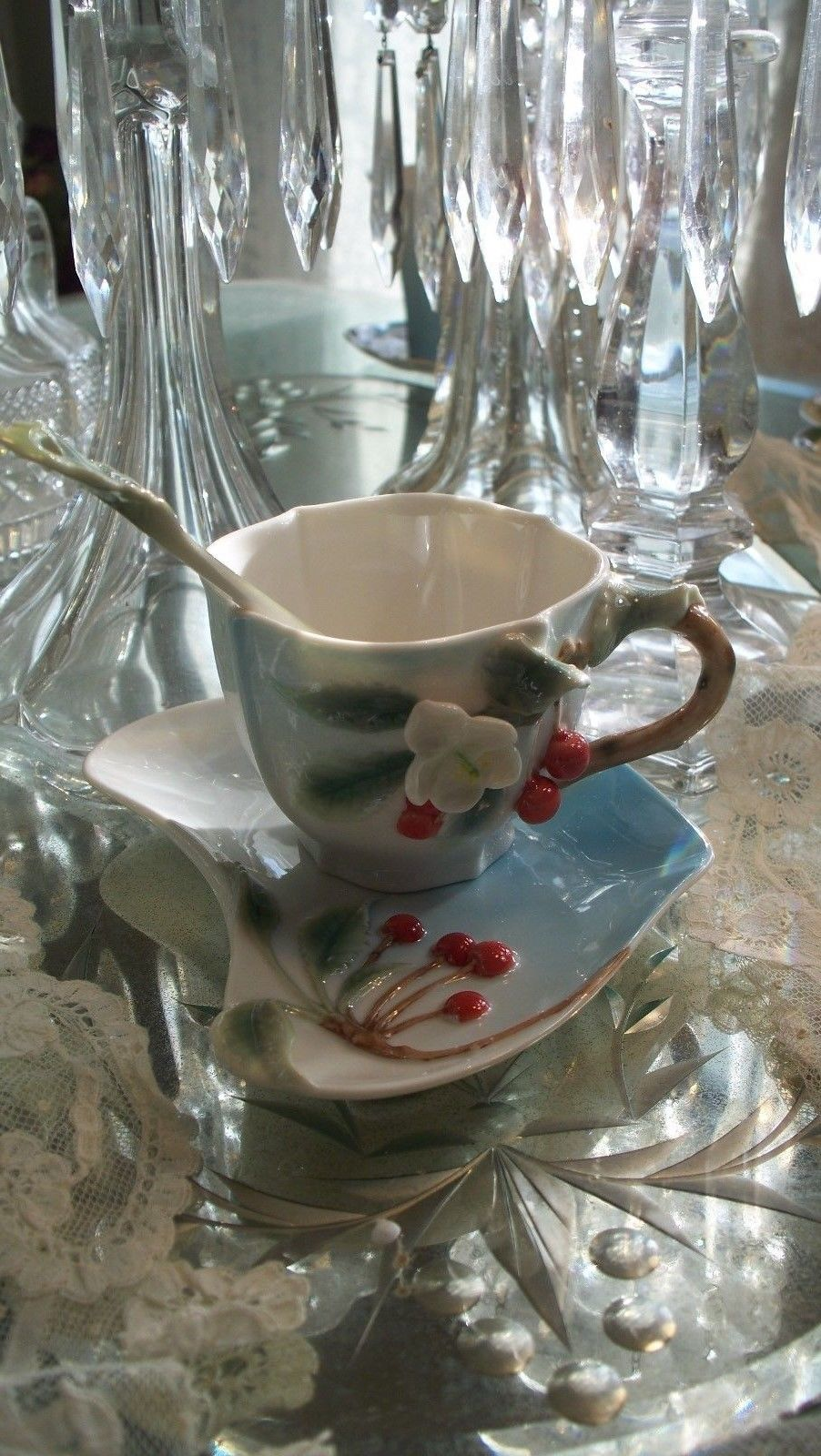 Lovely Garden Cherry Tea Cup,Saucer & Spoon plus Gift Box