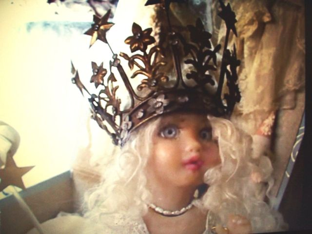 Vintage French Santos Crown 8 Stars & Flowers w/Rhinestones 1800's  ReplicaWorn by Vintage Isabeau for Display Only
