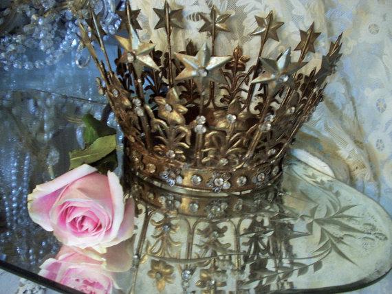 Vintage French Santos Crown 12 Stars & Flowers w/Rhinestones 1800's  Replica