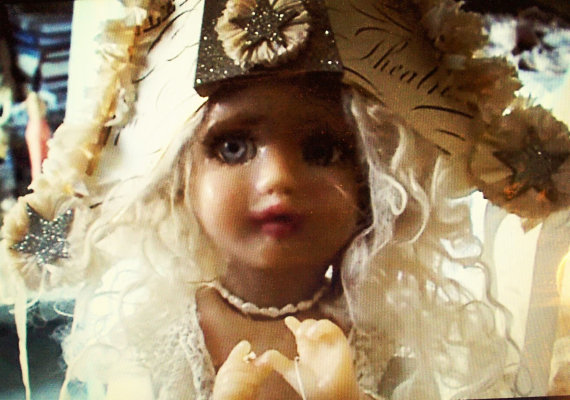 Vintage French Style Hat by Studio Dee, worn by Vintage Isabeau OOAK Automaton by Corinne Layton *For Display Only)