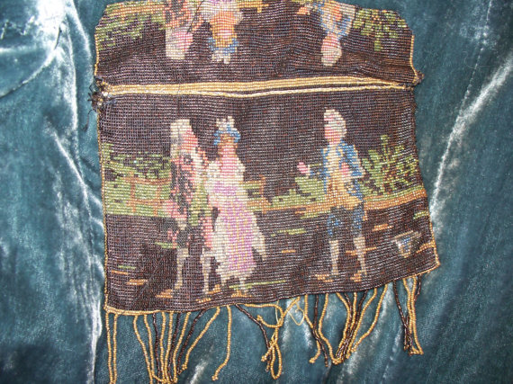Marie Antoinette Antique Beaded Purse circa 1899 France