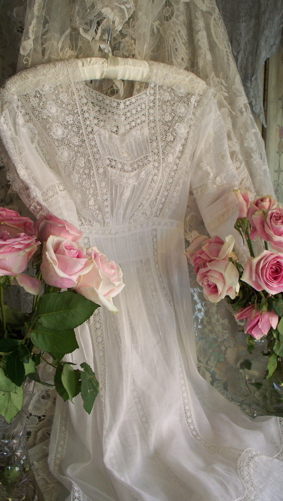 SOLD Antique Victorian Heirloom Sewn Wedding Dress Circa 1899
