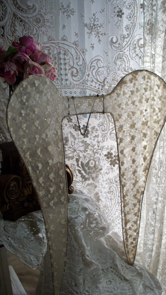 "SOLD Jeanne d'Arc Living 32"" Tulle Lace Angel Wings"