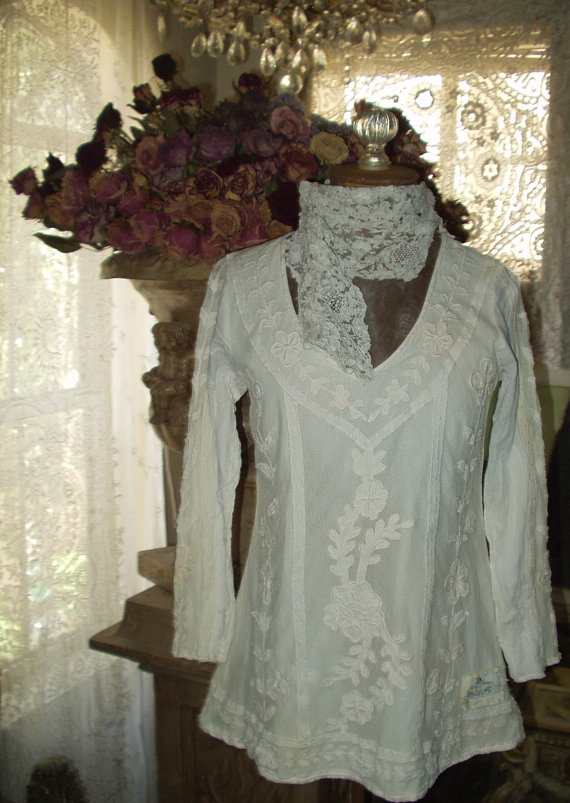 Jeanne d'Arc Living Embroidered  Lace Top Creme white Color 1 SM
