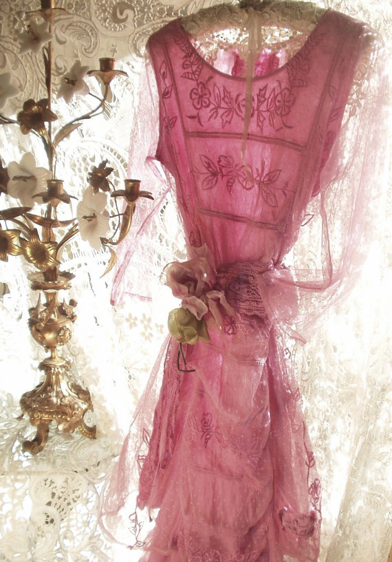 Edwardian Titanic Era Couture French Rose Tulle Dress & Tulle Skirt by Jeanne d'Arc Living