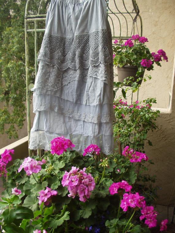 Jeanne d'Arc Living Light Indigo Blue Crochet Lace Tiered Skirt 1 M