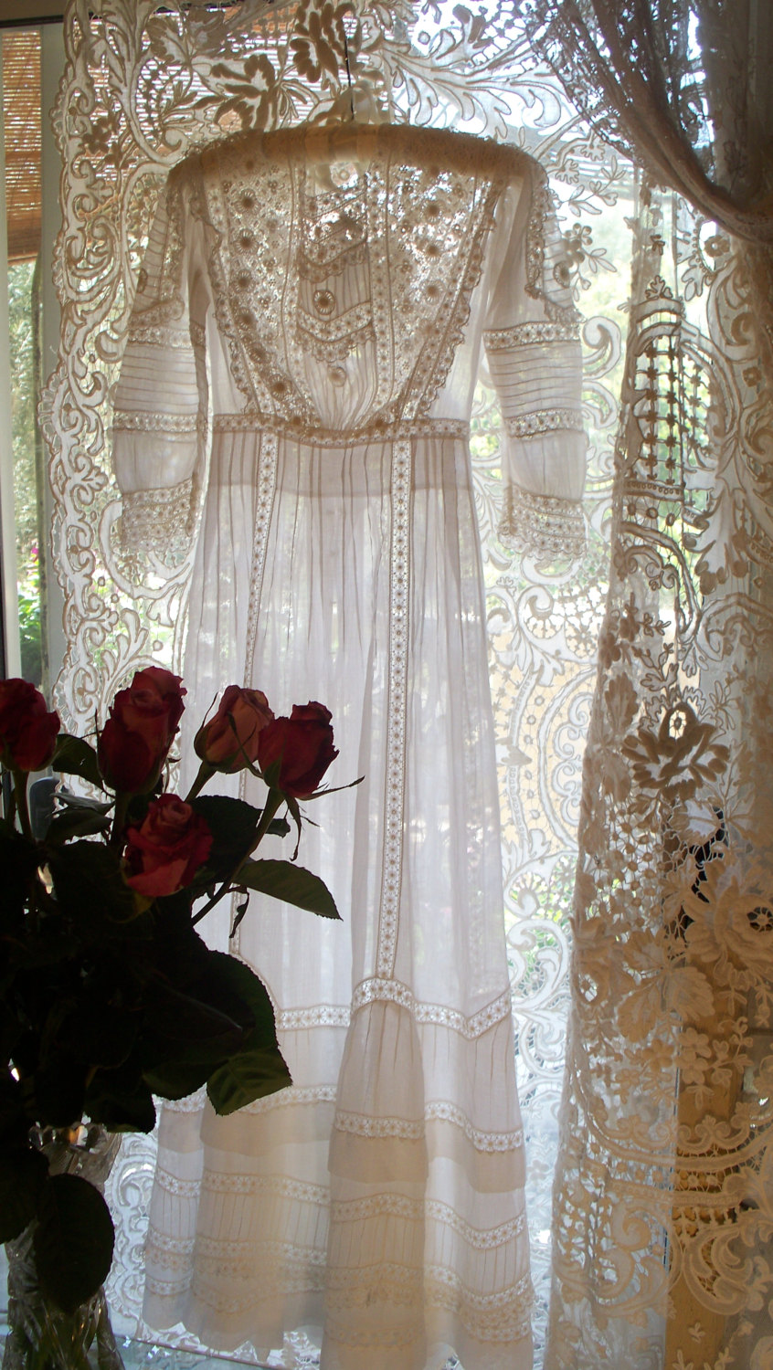 Antique Victorian Heirloom Sewn Wedding Dress Circa 1899