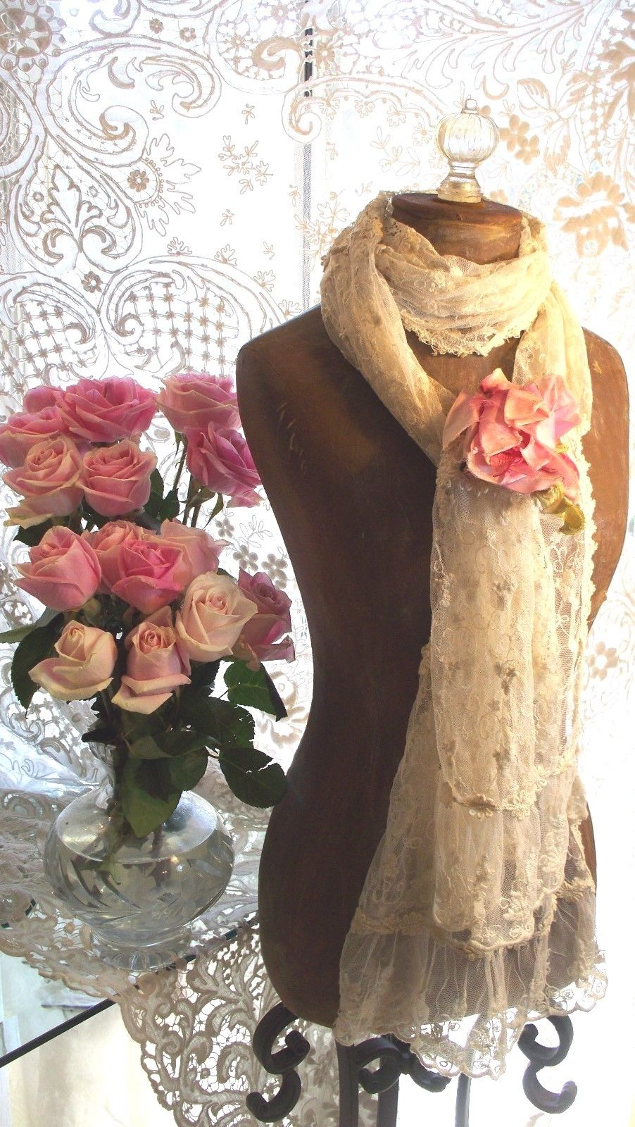 Jeanne d'Arc Living Creme Lace Scarf 85x16 PREORDER