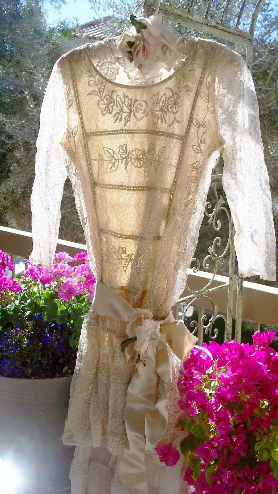 Jeanne d'Arc Living Edwardian Titanic Era Style Beige Tulle Dress,Skirt & Free Satin Ribbon