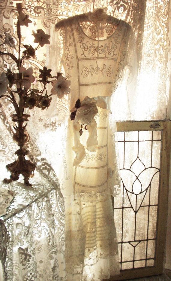 Jeanne d'Arc Living Edwardian Era Couture Creme Dress/Skirt/Ribbon