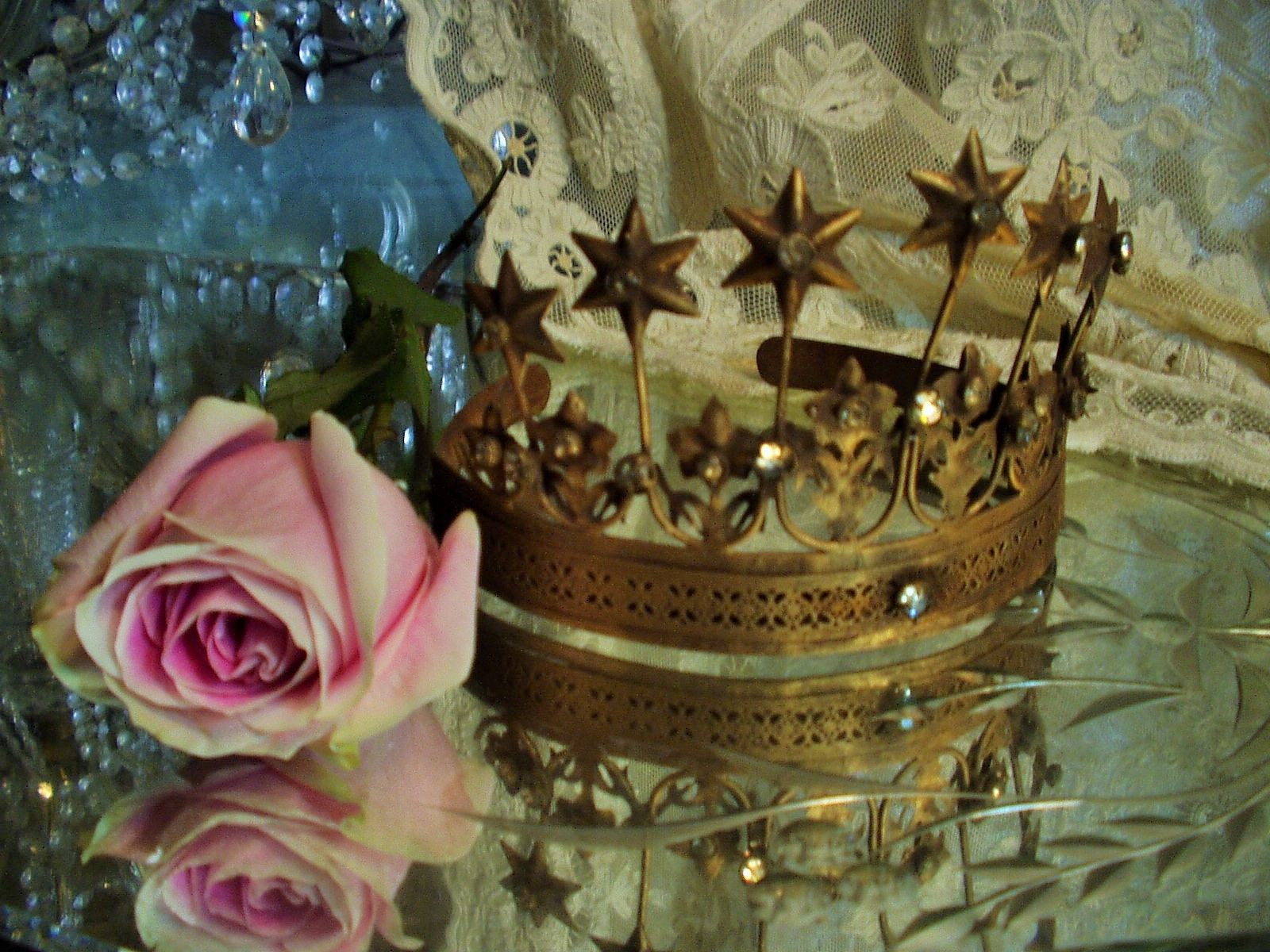 Vintage French Style Crown 7 stars 8 flowers Replica