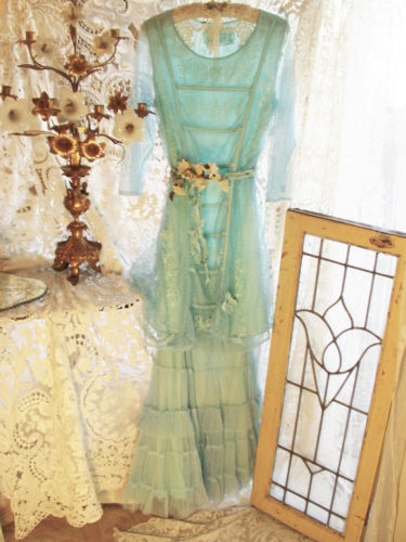 Edwardian Titanic Era Couture French Turquoise Tulle Dress & Tulle Skirt by Jeanne d'Arc Living
