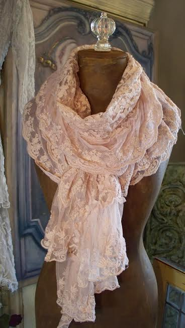 Jeanne d'Arc Living Dusty Powder Rose Lace Scarf