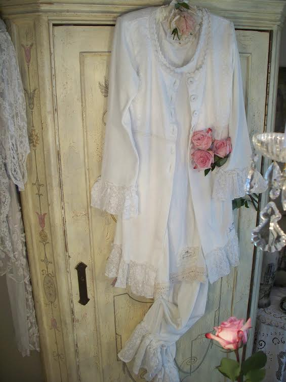 JDL WHITE Cotton Velvet & Lace Cardigan SALE